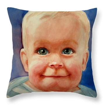 Up To Something Throw Pillow by Marilyn Jacobson
