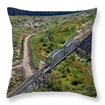 Throw Pillow featuring the photograph Up Tracks Cross The Mojave River by Jim Thompson