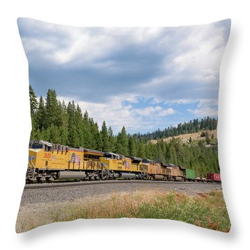 Throw Pillow featuring the photograph Up2650 Westbound From Donner Pass by Jim Thompson