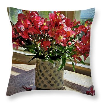 Upcountry Flowers Throw Pillow