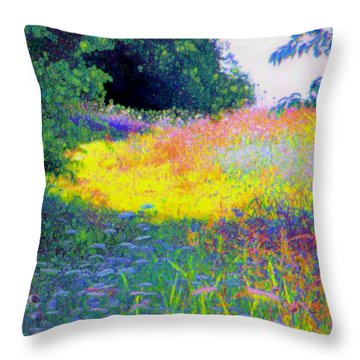 Uphill In The Meadow Throw Pillow by Shirley Moravec