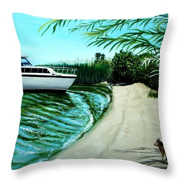 Upon Ashore Throw Pillow by Elizabeth Robinette Tyndall