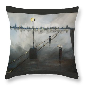 Upon The Boardwalk Throw Pillow by Raymond Doward