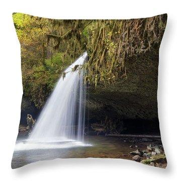 Upper Butte Creek Falls Closeup Throw Pillow by David Gn