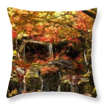 Upper Catawba Falls North Carolina Throw Pillow