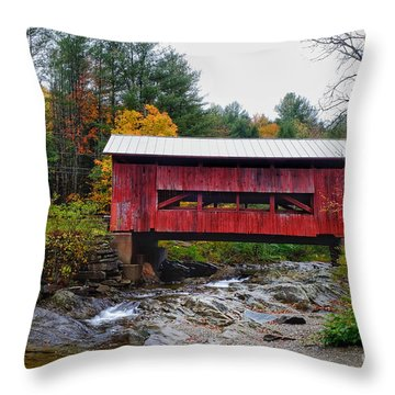Upper Cox Brook Covered Bridge In Northfield Vermont Throw Pillow
