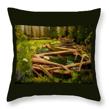 Throw Pillow featuring the painting Upper Deschutes by Nancy Jolley