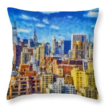 Upper Eastside Skyline Throw Pillow