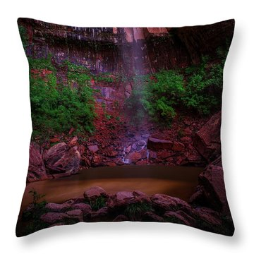Upper Emerald Pools Fall Zion National Park Throw Pillow