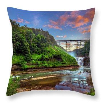 Upper Falls At Sunset Throw Pillow