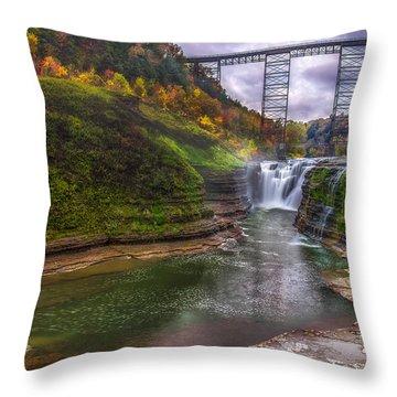 Upper Falls In Fall Throw Pillow
