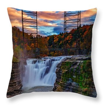 Upper Falls Letchworth State Park Throw Pillow by Rick Berk