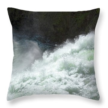 Upper Falls, Yellowstone River Throw Pillow