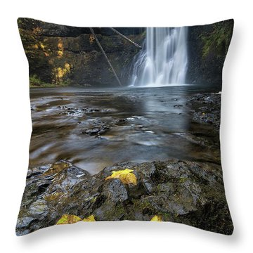 Upper North Falls In Autumn Throw Pillow by David Gn