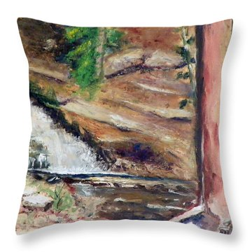 Upper Provo River Falls Throw Pillow by Sherril Porter