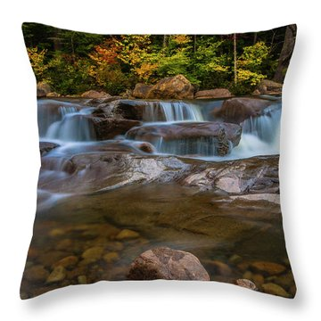 Throw Pillow featuring the photograph Upper Swift River Falls In White Mountains New Hampshire by Ranjay Mitra