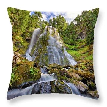 Upper Tier Of Falls Creek Falls In Summer Throw Pillow by David Gn