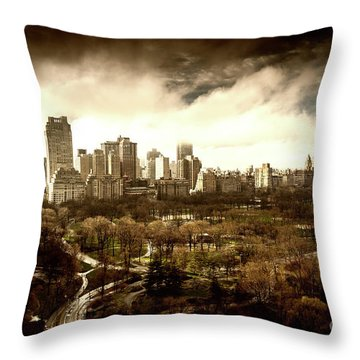Upper West Side Of New York In Spring Throw Pillow