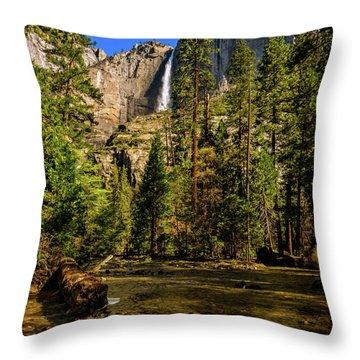 Upper Yosemite Falls From Yosemite Creek Throw Pillow