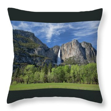 Upper Yosemite Falls In Spring Throw Pillow