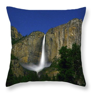Upper Yosemite Falls Under The Stairs Throw Pillow
