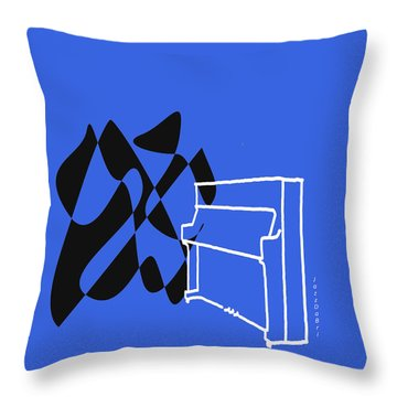 Throw Pillow featuring the digital art Upright Piano In Blue by Jazz DaBri