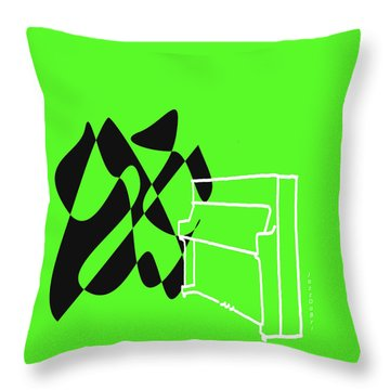 Throw Pillow featuring the digital art Upright Piano In Green by Jazz DaBri