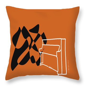 Throw Pillow featuring the digital art Upright Piano In Orange by Jazz DaBri