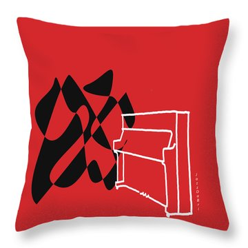 Throw Pillow featuring the digital art Upright Piano In Red by Jazz DaBri