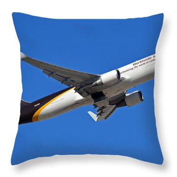 Ups Boeing 767-34af N332up Phoenix Sky Harbor January 12 2015 Throw Pillow by Brian Lockett
