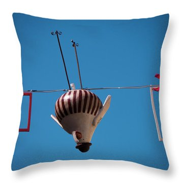 Upside Down Chicken Throw Pillow by Rae Tucker
