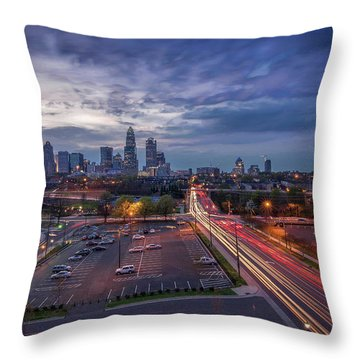Uptown Charlotte Rush Hour Throw Pillow