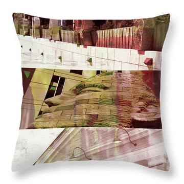 Throw Pillow featuring the photograph Uptown Library With Color by Susan Stone