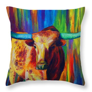 Throw Pillow featuring the painting Uptown Longhorn by Karen Kennedy Chatham