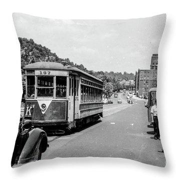 Uptown Trolley Near 193rd Street Throw Pillow