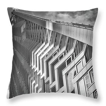 Upward View To West 57 St Nyc Bw Throw Pillow