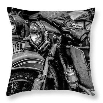Ural Patrol Bike Throw Pillow by Anthony Citro