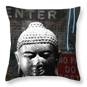 Urban Buddha 4- Art By Linda Woods Throw Pillow