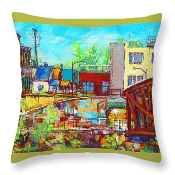 Throw Pillow featuring the painting Urban Exposer by Les Leffingwell