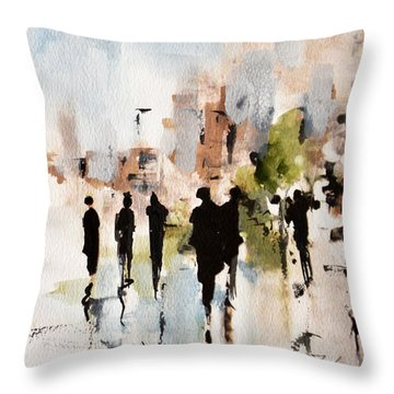 Throw Pillow featuring the painting Urban Forest  by Diane White