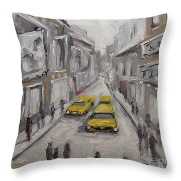 Urban Haze Cityscape By Prankearts Throw Pillow