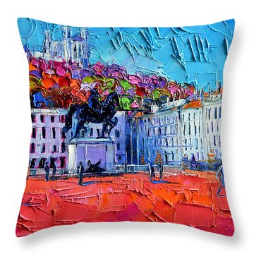 Urban Impression - Bellecour Square In Lyon France Throw Pillow