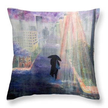 Throw Pillow featuring the painting Urban Life by Saundra Johnson