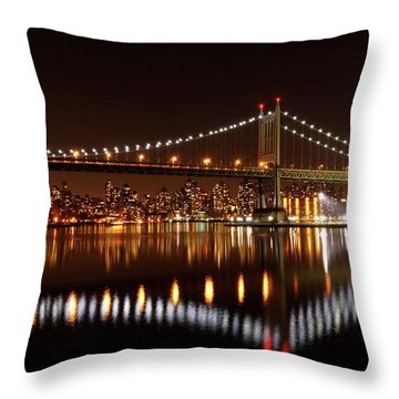 Urban Night Reflection Throw Pillow