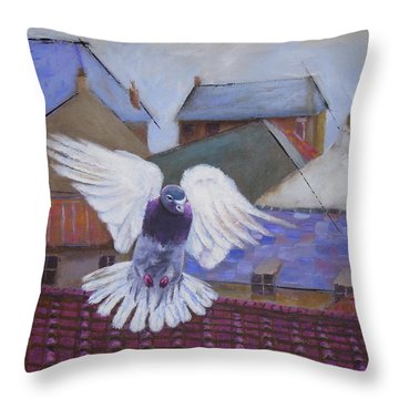 Urban Pigeon Throw Pillow