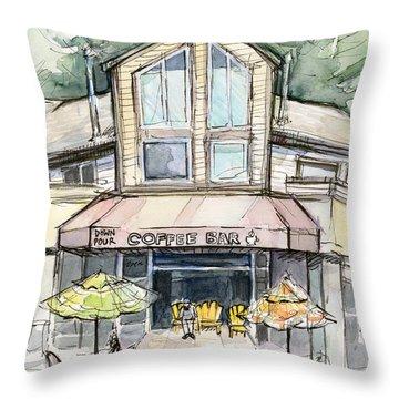 Coffee Shop Watercolor Sketch Throw Pillow