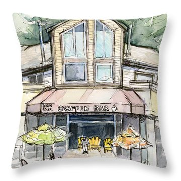 Coffee Shop Watercolor Sketch Throw Pillow by Olga Shvartsur