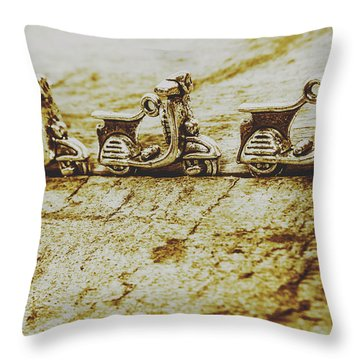 Urban Sprawl Of Scooters Throw Pillow