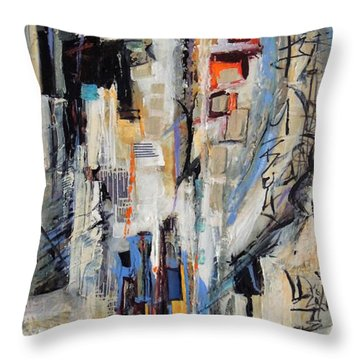 Throw Pillow featuring the painting Urban Street 2 by Mary Schiros