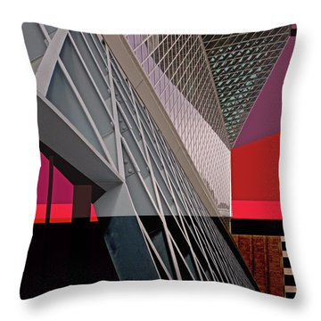 Throw Pillow featuring the digital art Urban Sunset by Walter Fahmy